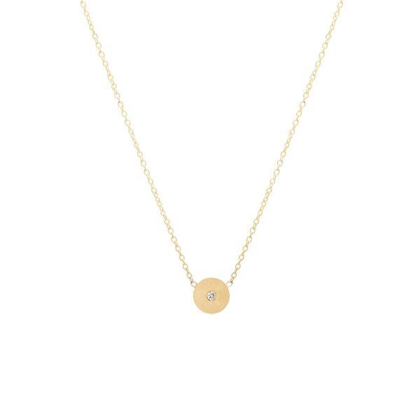 14k single diamond medium round disc necklace Mystique Jewelers Alexandria, VA