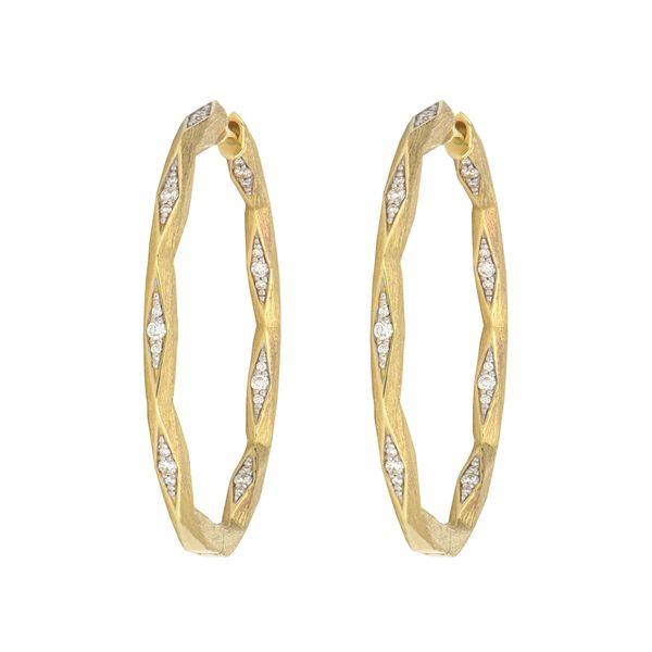 Raised Pyramid Diamond Hoop Earrings Mystique Jewelers Alexandria, VA