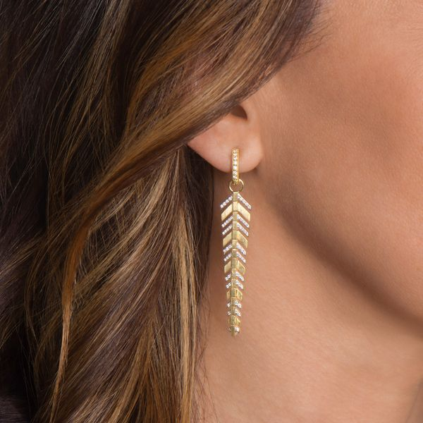 Lisse Long Pave Feather Earring Charms Image 2 Mystique Jewelers Alexandria, VA
