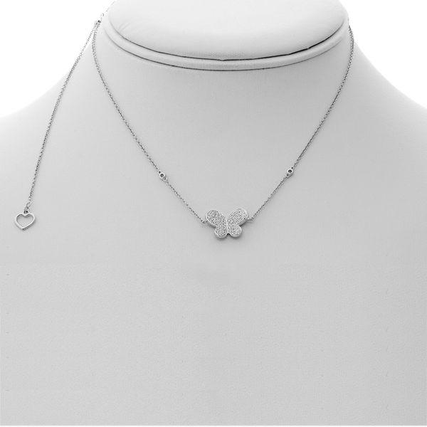 White Diamond Butterfly Necklace Image 3 Mystique Jewelers Alexandria, VA