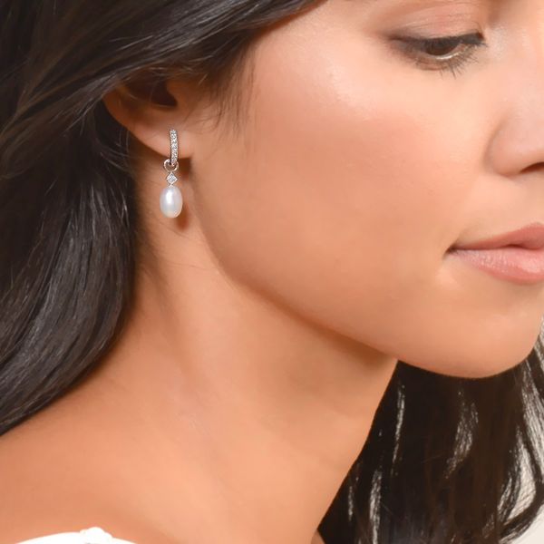 White Pearl Briolette Earring Charms Image 2 Mystique Jewelers Alexandria, VA