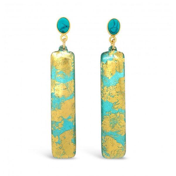 Turquoise Column Earrings with Turquoise Post Mystique Jewelers Alexandria, VA