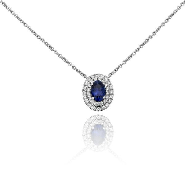 Oval Sapphire Double Halo Necklace  Mystique Jewelers Alexandria, VA