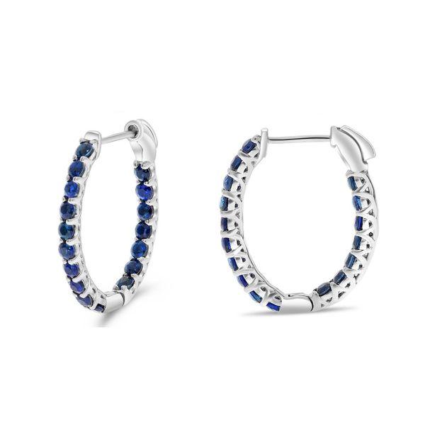 Blue Sapphire Oval Hoop Earrings Mystique Jewelers Alexandria, VA