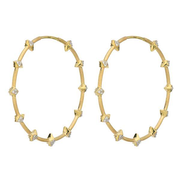 Lisse Tiered Pave Pyramid Station Hoop Earrings Mystique Jewelers Alexandria, VA