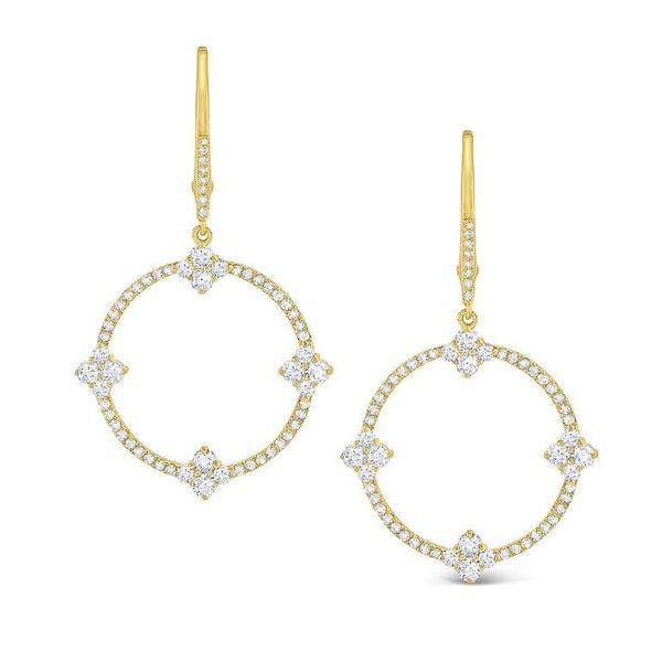 Diamond Circular Frame Lever Earrings Mystique Jewelers Alexandria, VA