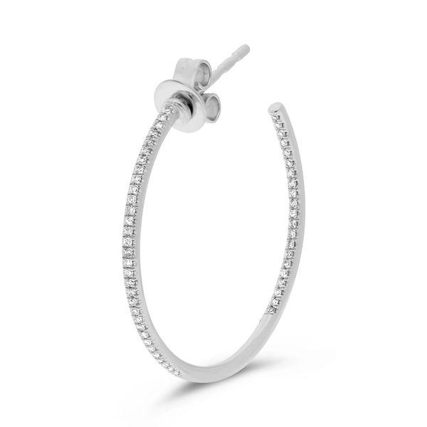 White Diamond Open Hoop Earrings Image 3 Mystique Jewelers Alexandria, VA