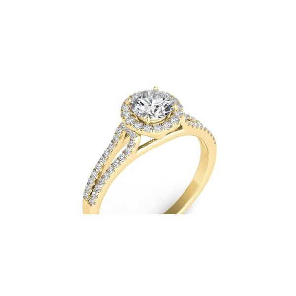 Yellow Gold Halo Engagement Ring Mystique Jewelers Alexandria, VA