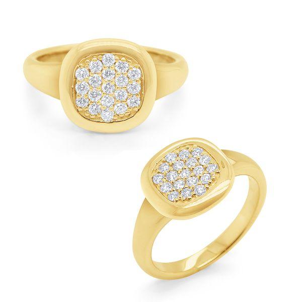 Gold and Pave Diamond Signet Ring Mystique Jewelers Alexandria, VA