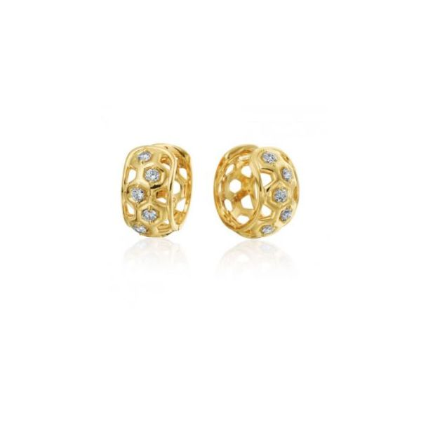 "GUMUCHIAN HONEYBEE ""B"" 18K YELLOW GOLD DIAMOND HUGGIE EARRINGS Image 2 Mystique Jewelers Alexandria, VA"