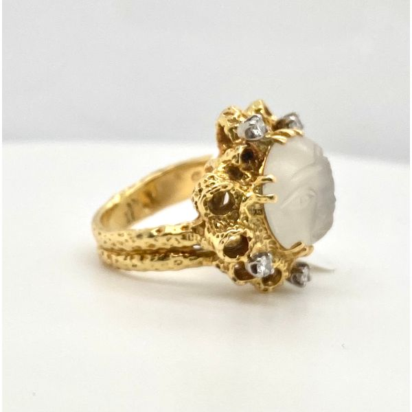 Moonface Moonstone Ring with Diamonds Image 2 Mystique Jewelers Alexandria, VA