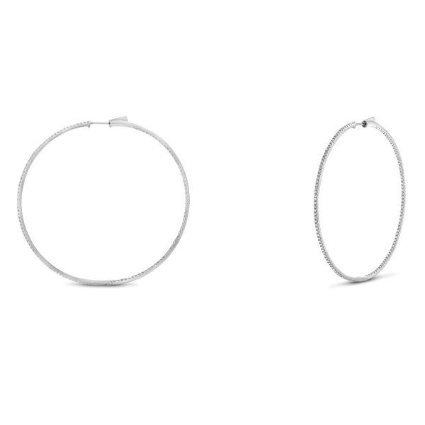 White Diamond Earrings on 2-Inch Round Hoops Mystique Jewelers Alexandria, VA