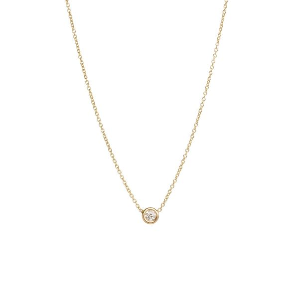14k single floating diamond necklace Mystique Jewelers Alexandria, VA