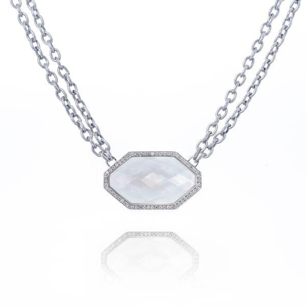 Mother of Pearl Pendant on Duble Chain Mystique Jewelers Alexandria, VA