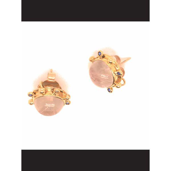 Moonstone and Sapphire Post Earrings Image 2 Mystique Jewelers Alexandria, VA