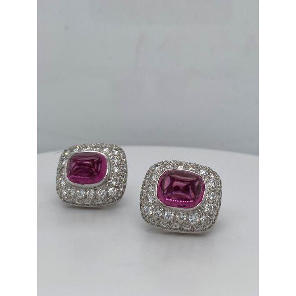 Pink Tourmaline and Diamond Earrings Image 2 Mystique Jewelers Alexandria, VA