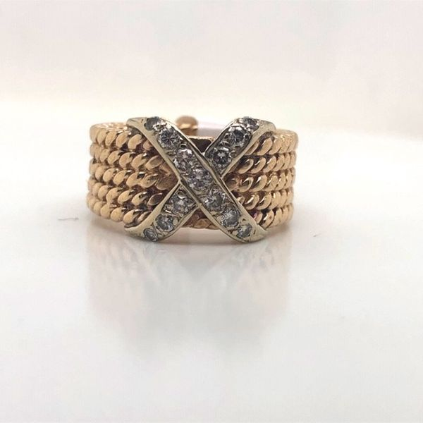 18kt Two Tone X Diamond Ring  Mystique Jewelers Alexandria, VA