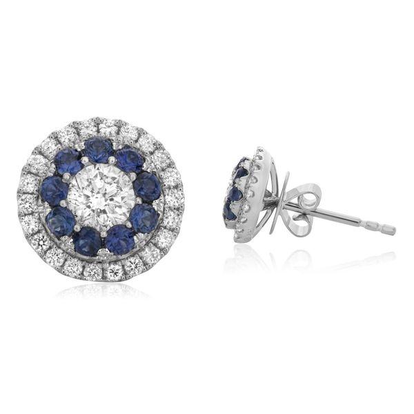 Sapphire Halo Stud Earrings Mystique Jewelers Alexandria, VA