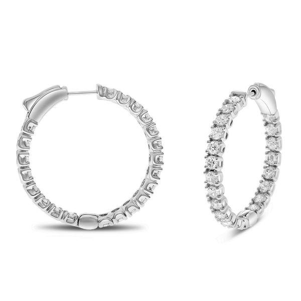 4 carat Diamond Inside Out Hoop Earrings in White Gold Mystique Jewelers Alexandria, VA
