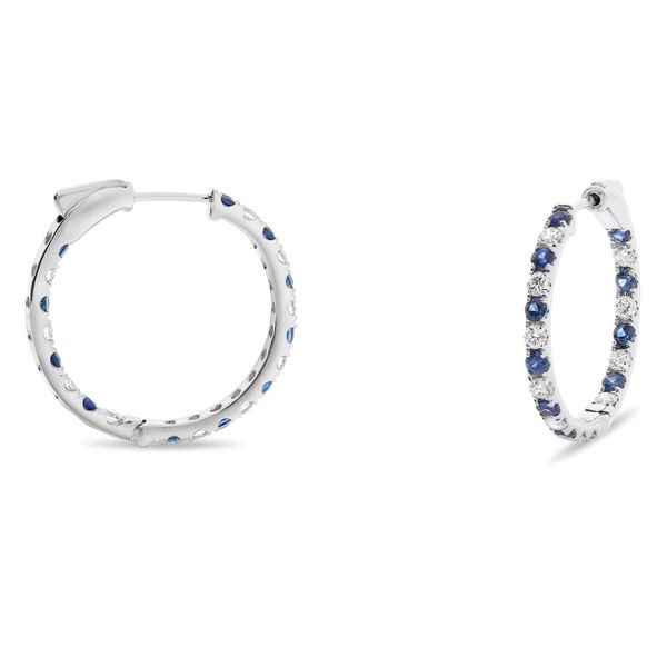 Three-quarter-inch Gold Hoops with a Carat+ of Sapphires Mystique Jewelers Alexandria, VA