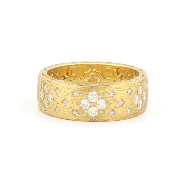 Moroccan Wide Band With Flower Diamond Pattern Mystique Jewelers Alexandria, VA