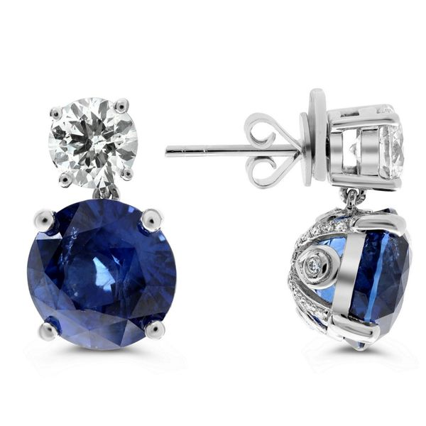 10+ Carat Blue Sapphire and Diamond Post Earrings in Platinum Mystique Jewelers Alexandria, VA