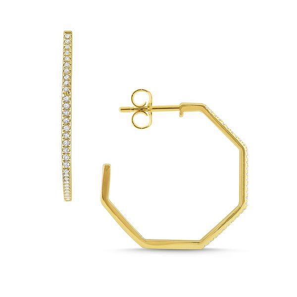Gold and Diamond Modern Geometric Hoops Mystique Jewelers Alexandria, VA