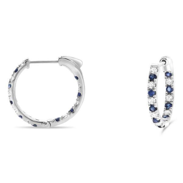 Diamond and Sapphire Half-Inch Hoop Earrings Mystique Jewelers Alexandria, VA