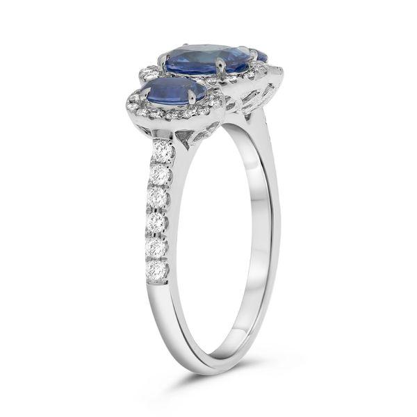 Three Stone Sapphire and Diamond Halo Ring  Image 3 Mystique Jewelers Alexandria, VA