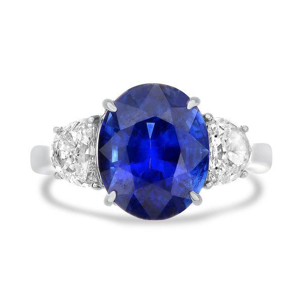 Platinum 3-Stone Oval Sapphire and Half Moon Diamond Ring Mystique Jewelers Alexandria, VA