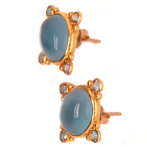 Blue Topaz Post Earrings Image 2 Mystique Jewelers Alexandria, VA