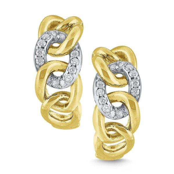 Gold and Diamond Chain Link Earrings Mystique Jewelers Alexandria, VA