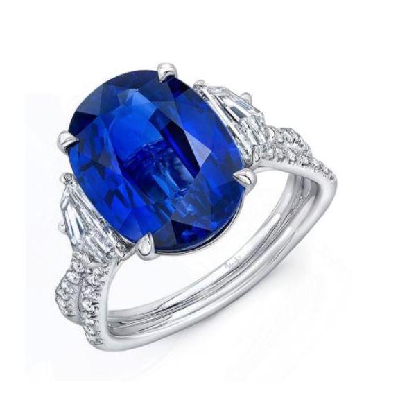 Sapphire and Diamond Three-Stone Engagement Ring Mystique Jewelers Alexandria, VA