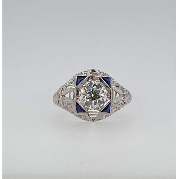 Platinum Diamond Ring with Sapphire Mystique Jewelers Alexandria, VA