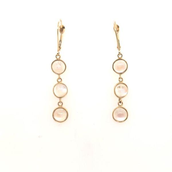 14kt Bezel Moonstone Drop Earrings Mystique Jewelers Alexandria, VA