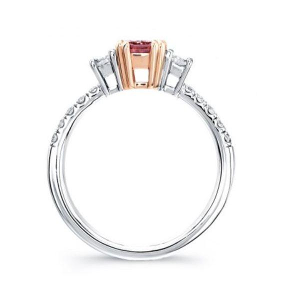 Three-Stone Intense Pink Center Stone Engagement Ring Image 2 Mystique Jewelers Alexandria, VA