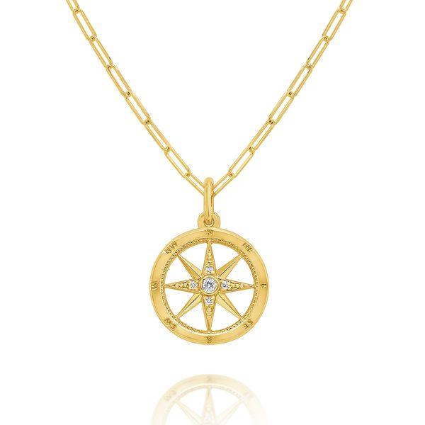 Gold and Diamond Compass Necklace Mystique Jewelers Alexandria, VA
