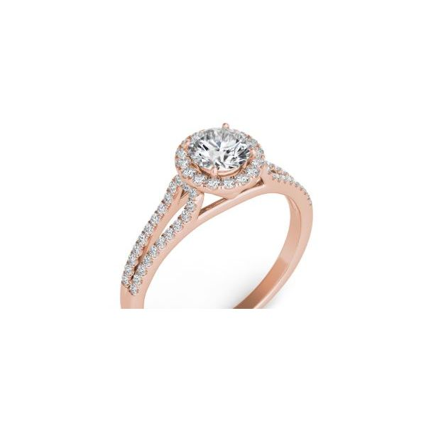 Rose Gold Halo Engagement Ring Mystique Jewelers Alexandria, VA