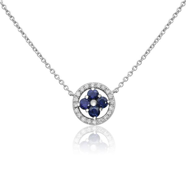 Sapphire & Diamond Cluster Necklace Mystique Jewelers Alexandria, VA