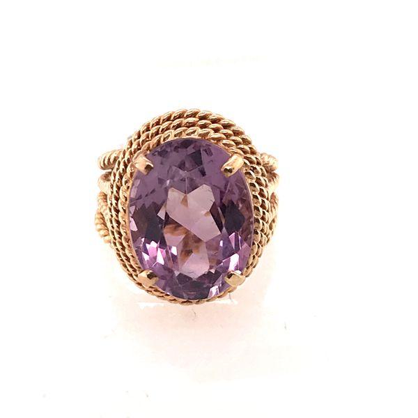 Amethyst Twisted Detail Gold Ring Mystique Jewelers Alexandria, VA