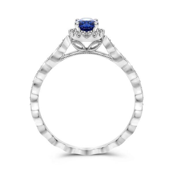 Milgrain Leaf Design Sapphire Ring Image 2 Mystique Jewelers Alexandria, VA