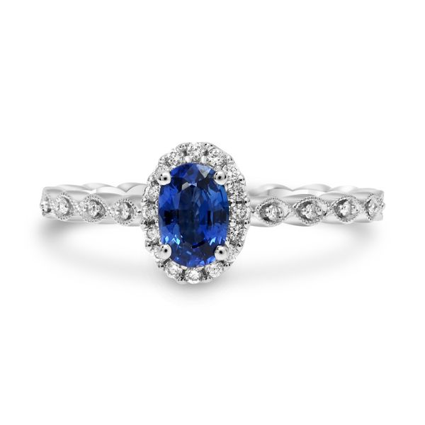 Milgrain Leaf Design Sapphire Ring Mystique Jewelers Alexandria, VA