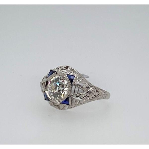 Platinum Diamond Ring with Sapphire Image 2 Mystique Jewelers Alexandria, VA