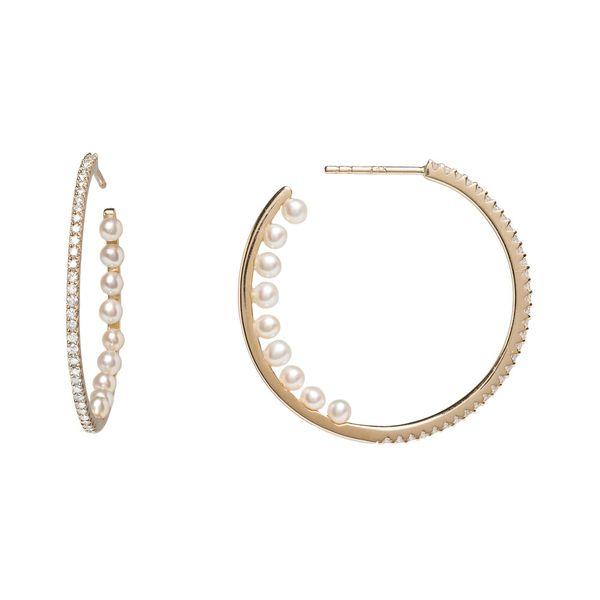 Gold Hoops with Diamonds and Pearls Mystique Jewelers Alexandria, VA