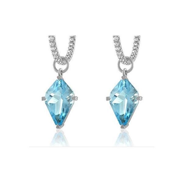 18kt wg Blue Topaz Kite charm Earrings Mystique Jewelers Alexandria, VA
