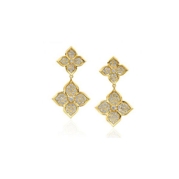 18K YELLOW GOLD DIAMOND LOTUS DROP EARRINGS Mystique Jewelers Alexandria, VA