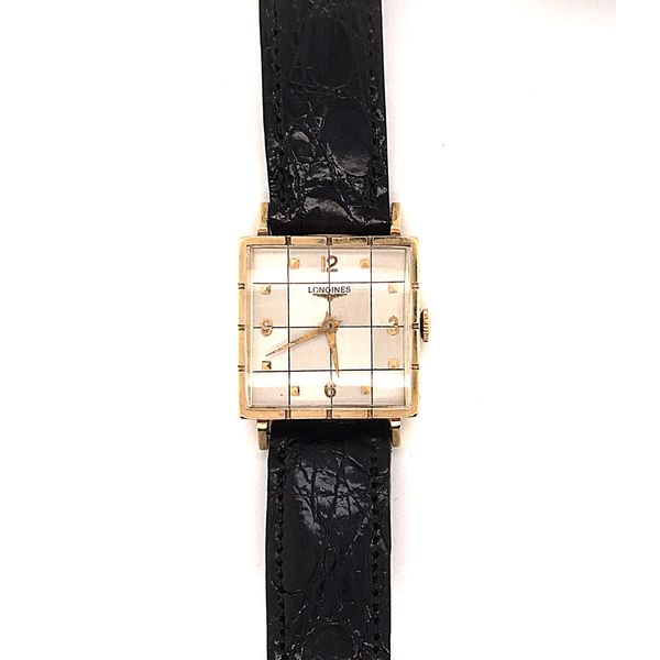 Vintage Gold Checkered Face Longines Mystique Jewelers Alexandria, VA