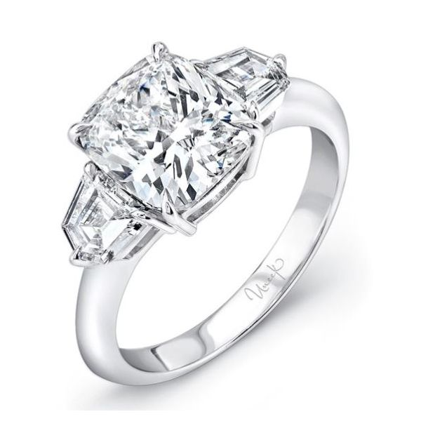 Cushion Three-Stone Engagement Ring in Platinum Mystique Jewelers Alexandria, VA
