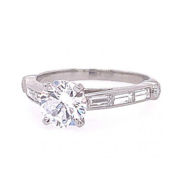 """GUMUCHIAN PLATINUM """"EMPIRE DECO"""" DIAMOND ENGAGEMENT RING MOUNTING Mystique Jewelers Alexandria, VA"""