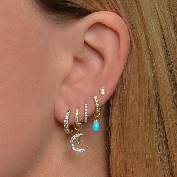 Petite Pave Diamond Crescent Moon Charm Image 2 Mystique Jewelers Alexandria, VA